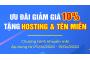 Giảm 10% giá dịch vụ website, tặng hosting và tên miền